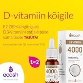 Ecoshi D3 vitamiinidel on kampaania 1=2 ehk 2 toodet ühe hinnaga🤩   🍁D3-vitamiin on vajalik vitamiin sügis-talvisel perioodil, eriti päikesevaesele Põhja-Euroopa rahvastikule.  🏃♀️D3 vitamiin toetab immuunsüsteemi, luude ja hammaste ehitust ning närvisüsteemi ja ainevahetuse normaalset talitlust.   👨👩👦Sobib kogu perele kasutamiseks.  Valiku D3 vitamiine leiad BioLife e-poest 👉https://biolife.ee/vitamiinid