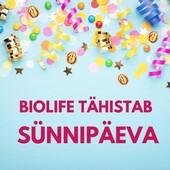 ❤Armas sõber!  BioLife on tervislike ja kvaliteetsete tervisetoodetega varustanud inimesi juba 7 aastat. Aitäh kõigile, kes läbi aastate on meid usaldanud!  🥳Sünnipäeva tähistame heade pakkumistega! Paljud tooted soodushindadega.  🎁Lisaks kingime Sulle BioLife e-poe poolt kupongi sooduskoodiga: SÜNNIPÄEV2021 kuni kuu lõpuni kõikidelt toodetelt lisaallahindlust 10%!   Sooduskood kehtib e-poes kuni 31.07.2021  🌿Kohtumiseni BioLife e-poes- https://biolife.ee/